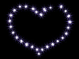 Heart from shining stars on a black background poster