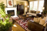 Cozy living room and fireplace. poster