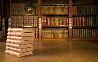 Old books in classic library