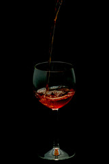 one night with glass of red wine