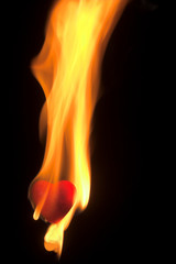 A blazing hot red heart on fire.