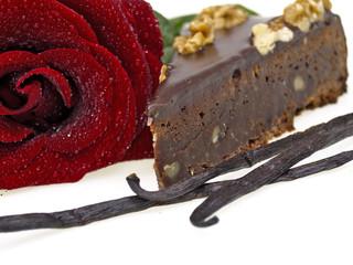 rote rose und brownie torte