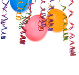 colorful balloons and confetti isolated on white background.. poster