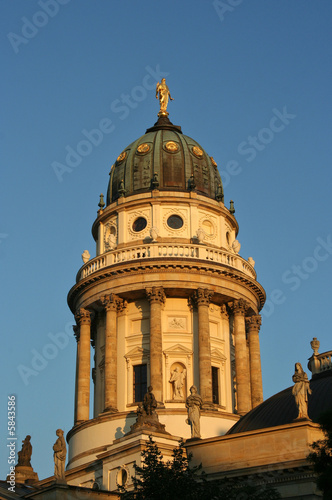 Berlin: French Cathedral on Gendarmenmarkt in the evening sun