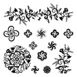 Floral and geometric pattern design elements poster