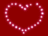 Heart from shining stars on a red background poster