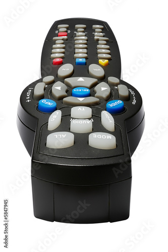 TV Remote control. Macro. Isolated over white background.