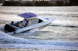 Motor Boat With Blue Canopy poster