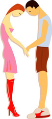 vector illustration of bashful couple