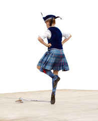 A girl doing a sword dance. Isolated with clipping path