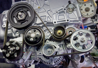 Close-up image of a supercharged automobile engine