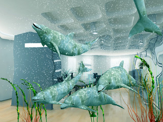the group of dolphins in modern office interior (3D)