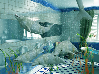 the dolphins in bathroom interior (3D rendering)