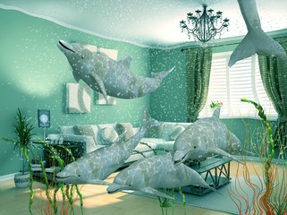 group of dolphins swimming in modern interior (3D)
