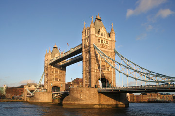 Tower Bridge in London in winter afternoon sun