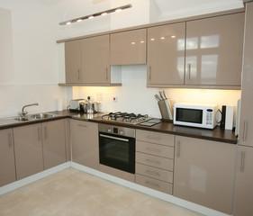 Modern kitchen interior with integrated appliances