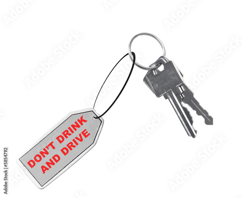 keys with tag saying don't drink and drive