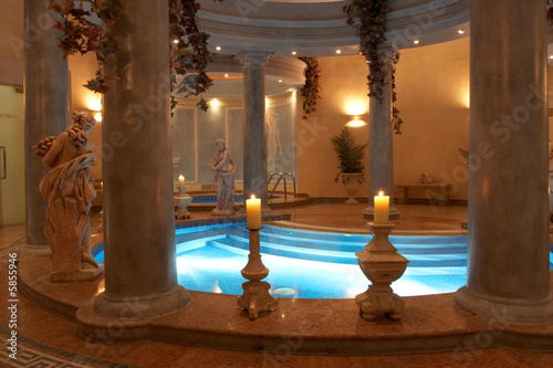 Spa with Roman Columns and statues