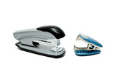 Stapler and anti-stapler isolated on white background poster