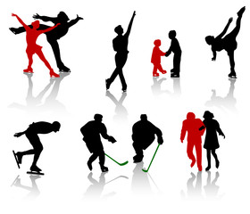 Silhouettes of people on a skating rink.