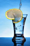 Wineglass of alcoholic beverage with lemon slice poster