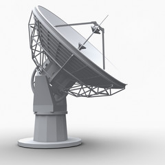 The radiotelescope on white background