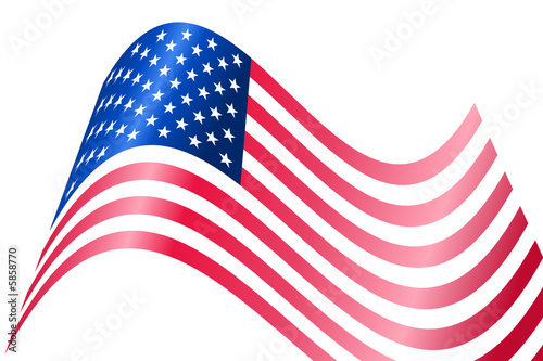 American USA flag waving with metallic or metal effect
