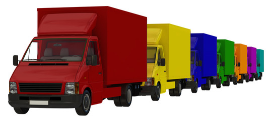 A convoy of multi-coloured delivery vehicles.