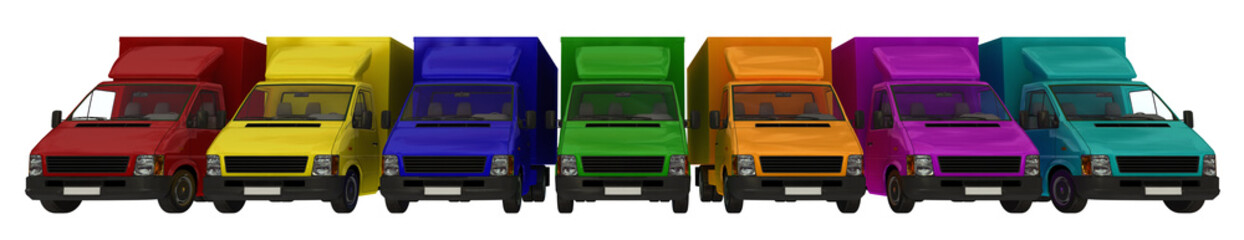 An array of multi-coloured delivery vehicles.