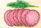 Peppered salami with dill poster