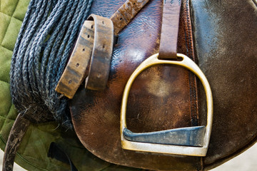 Close up of a saddle