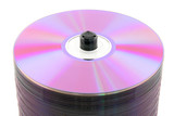 Close-up of purple DVDs or CDs on spindle. No dust. poster