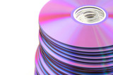 Stacked colorful DVDs or CDs on white background. No dust. poster