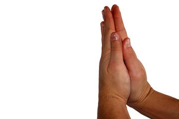 male hands folded in prayer
