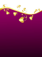 purple background with golden hearts