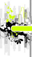 Abstract city background with butterflies
