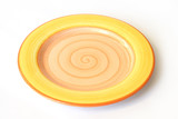 yellow plate on white background poster