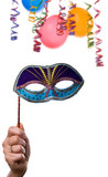 party frame ,hand with mask confetti and balloons isolated  poster