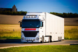Heavy truck front view. High contrast colors. poster