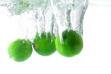 Refreshing - Lemons Fruits fall in the water . poster