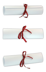 three diplomas with red ribbon isolated on white background