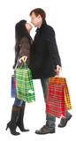 man and woman with purchases poster