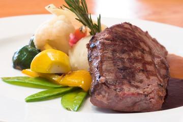 Juicy platter of beef steak