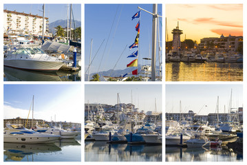 marina collage of five puerto vallarta images
