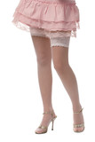 sexy woman legs in white stockings under short pink skirt  poster