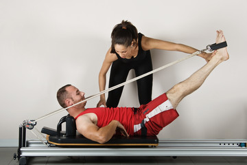 The reformer position with cords. Pilates gymnastics
