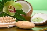 Avocado coconut scrub in coconut shell poster