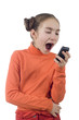 Young girl yelling into cellphone