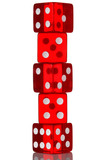 Five red transparent dice in a stack. Isolated on white. poster