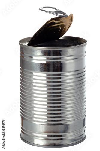 Empty tin, isolated on white.